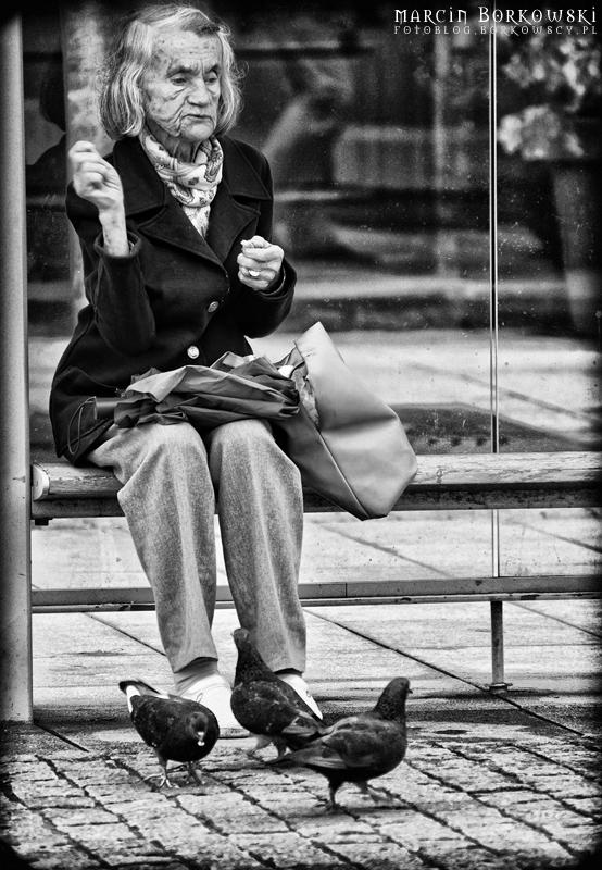 Sympatyczna starsza Pani z gołębiami - 17