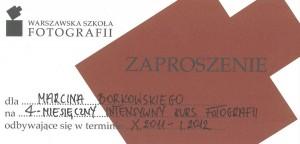 voucher na czteromiesięczny kurs fotografii w Warszawskiej Szkole Fotografii